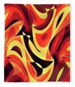 Abstract Waves Painting 007185 Fleece Blanket