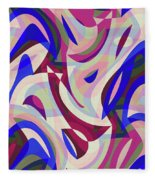 Abstract Waves Painting 007199 Fleece Blanket