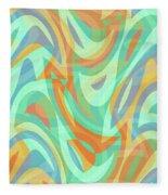 Abstract Waves Painting 007202 Fleece Blanket