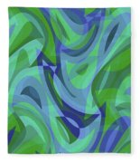 Abstract Waves Painting 007221 Fleece Blanket