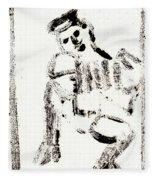 Accordion After Mikhail Larionov Black Ink Painting 1 Fleece Blanket