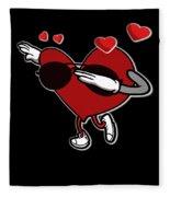 Adorable Cool Dabbing Heart Fleece Blanket