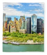 Aerial Panorama Of Downtown New York Skyline Fleece Blanket