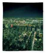 Aerial View Of Manhattan Skyline  Fleece Blanket