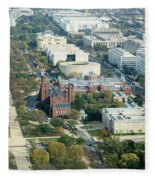 Aerial View Of Museums On The South Side Of The National Mall In Fleece Blanket