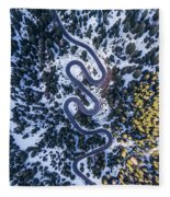 Aerial View Of Winding Mountain Road Through Forest Fleece Blanket