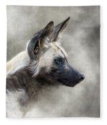 African Wild Dog In The Dust Fleece Blanket