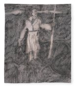 After Billy Childish Pencil Drawing 14 Fleece Blanket