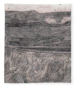 After Billy Childish Pencil Drawing 18 Fleece Blanket