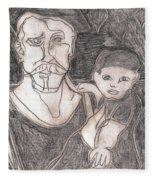 After Billy Childish Pencil Drawing 19 Fleece Blanket
