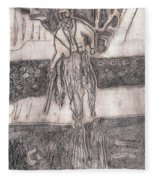 After Billy Childish Pencil Drawing 24 Fleece Blanket