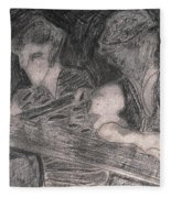 After Billy Childish Pencil Drawing 33 Fleece Blanket