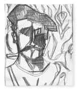 After Billy Childish Pencil Drawing B2-4 Fleece Blanket