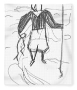 After Billy Childish Pencil Drawing B2-9 Fleece Blanket