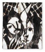 After Mikhail Larionov Black Oil Painting 14 Fleece Blanket