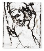 After Mikhail Larionov Black Oil Painting 16 Fleece Blanket