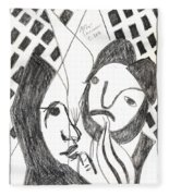After Mikhail Larionov Pencil Drawing 14 Fleece Blanket