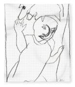 After Mikhail Larionov Pencil Drawing 16 Fleece Blanket