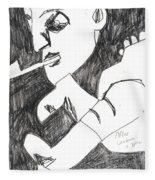 After Mikhail Larionov Pencil Drawing 4 Fleece Blanket