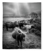 After The Rain On The Mountain In Black And White Fleece Blanket