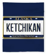 Alaska State License Plate Mockup With The City Ketchikan Fleece Blanket