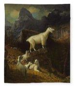 Albert_bierstadt_-_rocky_mountain_goats Fleece Blanket