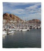Alicante Marina And The Santa Barbara Castle Fleece Blanket