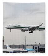Alitalia Embraer 190 Bird Near Miss Fleece Blanket