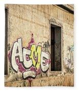 Alley Graffiti And Windows - Romania Fleece Blanket