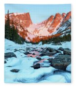 Alpenglow At Dream Lake Rocky Mountain National Park Fleece Blanket