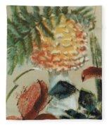 Amanita Muscaria Fleece Blanket by Barbara Keith