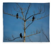 American Crows In Bare Tree Fleece Blanket
