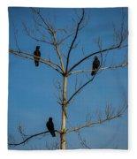 American Crows In Bare Tree Fleece Blanket