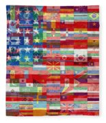 American Flags Of The World Fleece Blanket