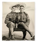 American Soldiers With A Parasol Circa 1915 Fleece Blanket