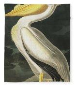 American White Pelican, Pelecanus Erythrorhynchos By Audubon Fleece Blanket