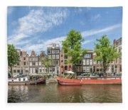Amsterdam Prinsengracht Houseboats Fleece Blanket