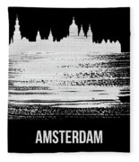Amsterdam Skyline Brush Stroke White Fleece Blanket