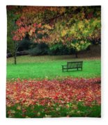 An Autumn Bench At Clyne Gardens Fleece Blanket