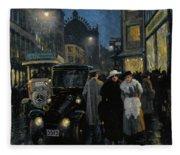 An Evening Stroll On The Boulevard Fleece Blanket