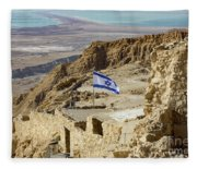 An Israeli Flag Flies Near The Entrance To The Top Of Masada In  Fleece Blanket