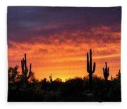An Orange Glow Fills The Desert  Fleece Blanket