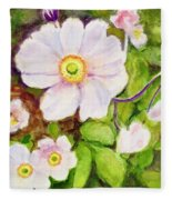 Anemones Birthday Card Fleece Blanket