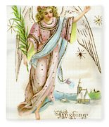 Angel  Carrying A Palm Branch Fleece Blanket