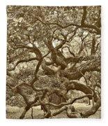 Angel Oak Drama In Vintage Sepia Fleece Blanket