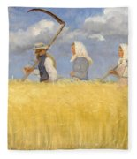Anna Ancher - Harvesters Fleece Blanket