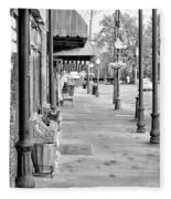 Antique Alley In Black And White Fleece Blanket