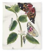 Antique Watercolor Illustration Of Nettle Butterfly In Various Life Stages Published In 1824 By M.p. Fleece Blanket