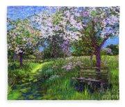 Apple Blossom Trees Fleece Blanket