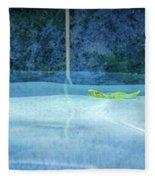 Aqua Agua And Leaf Fleece Blanket